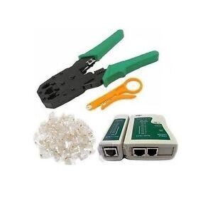 cable tester crimp crimper 100 rj45 cat5 cat5e connector plug network tool kit. Black Bedroom Furniture Sets. Home Design Ideas