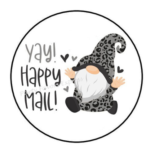 """30 YAY! HAPPY MAIL GNOME ENVELOPE SEALS LABELS PARTY FAVORS STICKERS 1.5"""""""