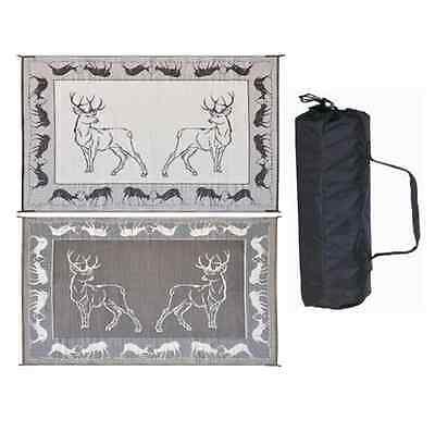 """9' x 12' """"Deer"""" Reversible Patio Mat for RV / Camper / Motorhome"""