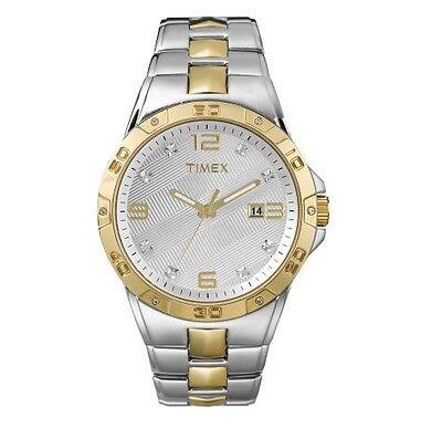 Nuevo TIMEX 2 Tonos Oro + Plata,Cristal,Brazalete de Acero Inoxidable Hombre