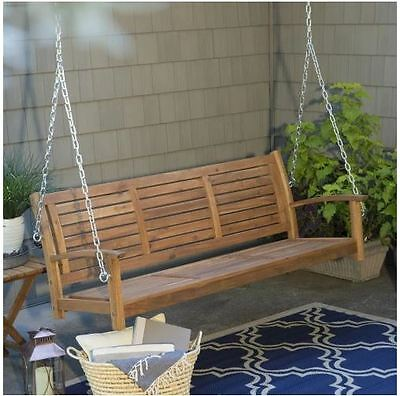 Front Porch Swing Brown 5 Foot Slat Back Outdoor Garden Furniture Patio Backyard Front Porch Furniture