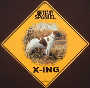 BRITTANY SPANIEL X-ING Sign art decor dogs painting home print picture signs