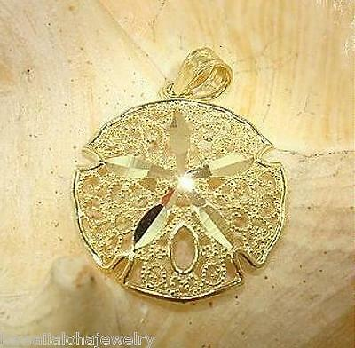 19mm Hawaiian 14k Yellow Gold Diamond-Cut DC Filigree Sand Dollar Shell Pendant ()