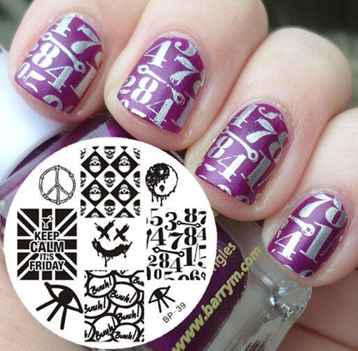 Nail Art Stamping Plate Punk Style Skull Image Template Bp39 Born