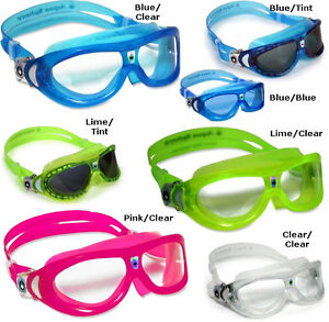 Aqua-Sphere-SEAL-KID-Clear-Smoke-Blue-Lens-Learn-to-Swim-GOGGLE-Training-Mask