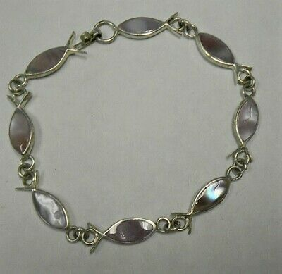 2 HANDCRAFTED PINK SHELL ALPACA SILVER LINKED BRACELET-ICHTHUS, -