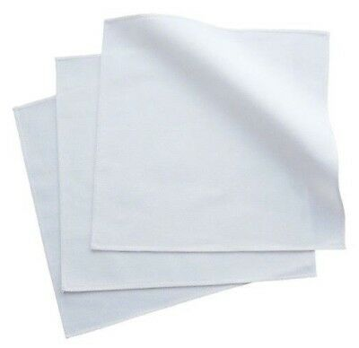 100% Organic Cotton White Men's Handkerchiefs - Set of 3, USA made