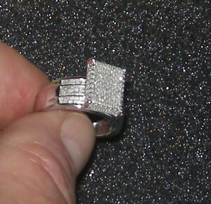 925 SILVER DIAMOND CAST CLUSTER ENGAGEMENT RING Was $450 WOW!!!