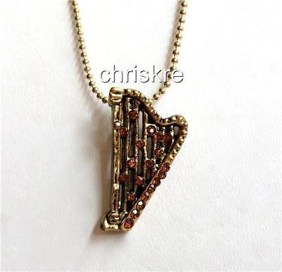 Harp Gifts (Gold Crystal Harp Necklace Pendant Music Musician Graduation Gift USA)
