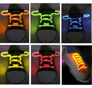 ORANGE LED LIGHT UP SHOELACES DISCO FLASH LITE GLOW STICK NEON RUNNING SHOE LACE