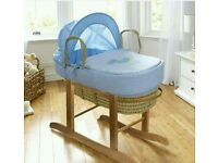 Kinder valley my little rocker moses basket. Bule. With ROCKING stand. Brand new in sealed packs.