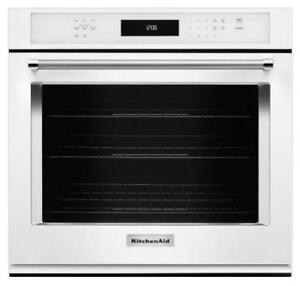 "KITCHENAID NEW KOSE500EWH 30"" SINGLE, 5.0 CU FT., TRUE CONVECTION,  SELF CLEAN, FIT SYSTEM,SINGLE WALL OVEN(BD-1536)"