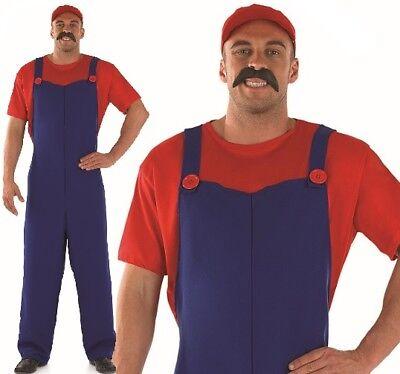 Herren 80s Jahre 90s Klempner Kollegen Maskenkostüm, Hut & Tash Mario von NEU F (Mario Kostüm Hut)