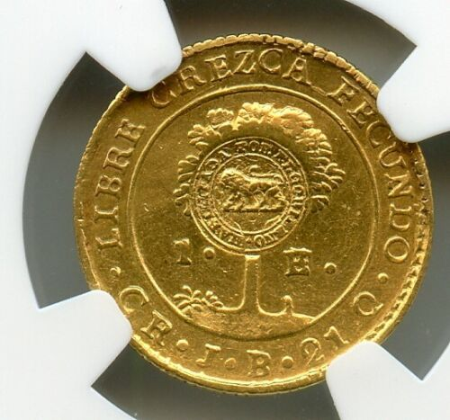 Costa Rica 1847 CR-JB Gold 1 Escudo, Central America, NGC AU, counter stamped