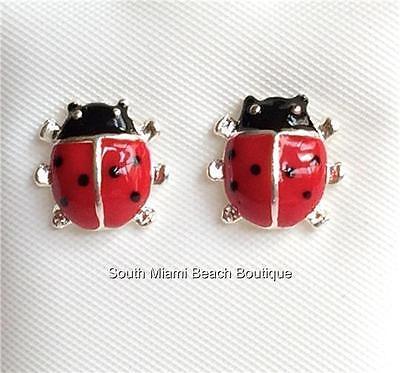 Silver Ladybug Earrings Lady Bug Insect Heart Red Enamel Pierced USA Seller