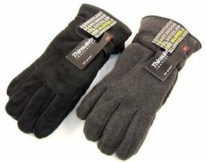 Mens-Thinsulate-Polar-Fleece-Winter-Gloves-Thermal-lining-in-Black-Grey-M-L-L-XL