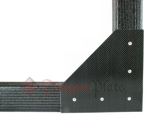 """Dragonplate 1"""" Square Tube Carbon Fiber Gusset 2D 90 Deg Corner - FDPGK-S*1-2C90"""