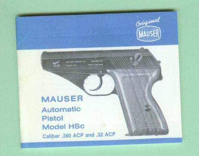 Mauser Model HSc 32 Acp 380 ACP Owners Manual Reproduction