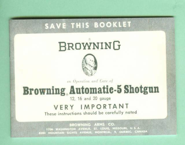 Browning  Model A5 12 16 20 Ga Factory Owners Instruction  Manual Reproduction