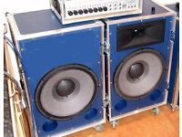 JBL Bass Speakers for PA Disco etc Pair 600 watts RMS each cab.