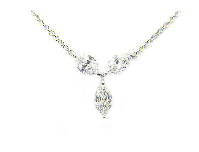 DIAMOND 3 MARQUISE SHAPE DIAMOND PENDANT INCLUDED 14 INCH CHAIN