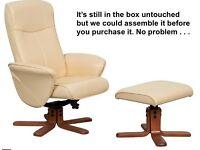 BRAND NEW cream swivel recliner armchair