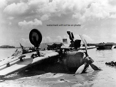 "Japanese Dive Bomber shot down on Guam Beach 8""x 10"" World War II Photo #155"