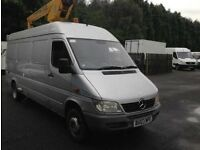 2003 03 reg Mercedes sprinter , 414cdi jumbo long wheelbase cherry picker , 4x4 low millage