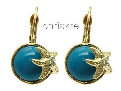 Gold Starfish Earrings Aqua Turquoise Pierced Sea Life Beach Plated USA - Turquoise Starfish Earrings