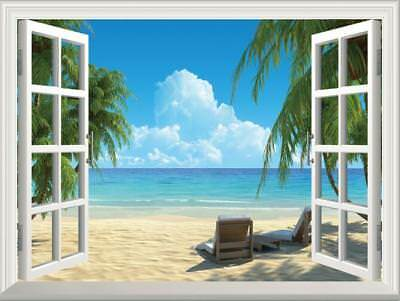 Summer Beach 3D Fake Window View Wall Sticker Decal Home Office Decor 51*72CM](Office Window Decorations)
