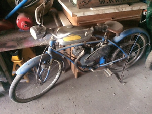 1940s Whizzer motor bicycle and British Hudsons