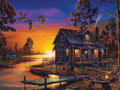 LED Lighted Cabin Sunset Campfire~Canvas Art Picture Lodge Decor Light-up Print
