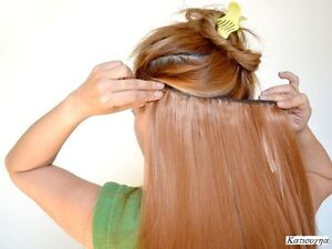 "CLIP IN hair extension,Straight hair, 24"", Color GOLDEN BROWN Yellowknife Northwest Territories image 1"