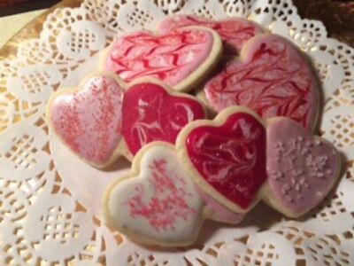 2 - 4 Dz Homemade Valentine Sugar Cookies-Large Hearts & Double Hearts-Almond! Heart Sugar Cookies