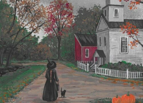 ACEO PRINT OF PAINTING RYTA HALLOWEEN WITCH BLACK CAT Salem House Art Haunted