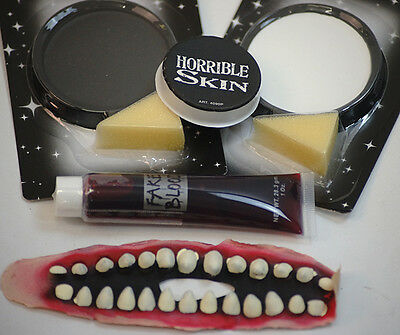 HALLOWEEN-Circus-Evil-Scary-Twisted Clown ZOMBIE HORROR MAKE UP SET