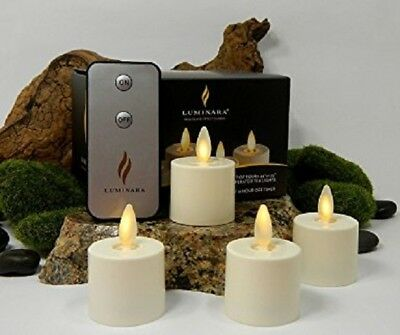 Luminara® GENUINE Tea Lights SET of 4 Flameless Candles Votive W/ Remote + Timer](Tea Lights Flameless)