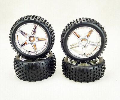 Car Parts - Hsp Rc Car Parts 06010 06026 Wheel Complete 4 Pcs Chrome Silver For Buggy