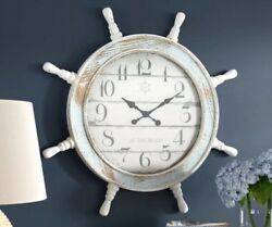 Large Wall Clock Nautical Coastal Decor Ships Wheel Distressed Shabby 28 Wood