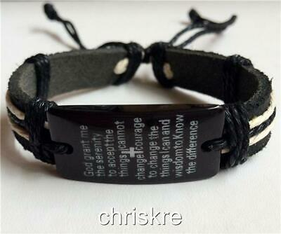 Serenity Prayer Bracelet Black Leather rope  AA NA Al-Anon Recovery US - Als Bracelet