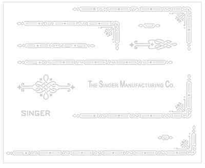 Faux White Rotary Sewing Machine Restoration Decals 3 color Gold Metallic 41020