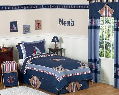 Sweet Jojo Designs Cheap Blue Whte Nautical Sail Boat Kids Twin Boy Bedding Set