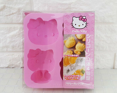 Hello Kitty Shaped Cookie Cooking Baking Madelein IceCube Tray Silicone 4 Molds