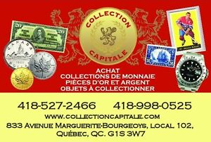 Achat d'or Argent ,pièces de monnaies, billets de banque