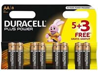 Duracell 5+3 free plus power AA batteries
