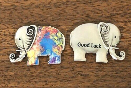 GANZ Lucky Little Good Luck Elephant Charm Pocket Token Blue Colors w/Card  B