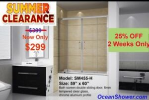"60"" WIDE Bathtub Shower Screen Door"