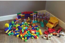 Mega blocks bundle unisex, big yellow bus, animals, vehicles & Disney princesses Belle & Cinderella