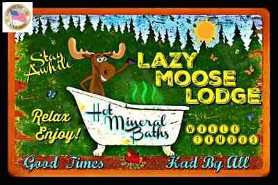 *LAZY MOOSE LODGE* DISTRESSED IMAGE 8X12 METAL SIGN RUSTIC LODGE LOG CABIN DECOR Log Cabin Decor