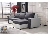 Corner sofa bed sofa bed UK STOCK 1-5 DAY DELIVERY (Grey - White)